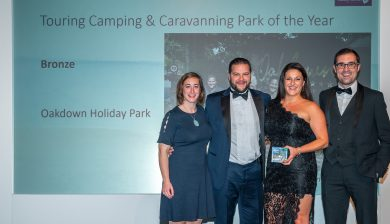 The team at Oakdown accepting the touring camping & caravanning park of the year award